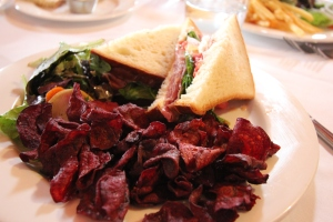 Lunch!  I can't remember the sandwich (something with buffalo milk mozzarella & tomatoes, though), beet chips and a salad