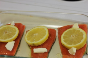 Salmon waiting to go in the oven