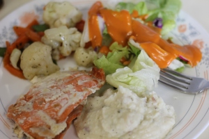 My plate...salmon, veggies, salad & mashed potatoes