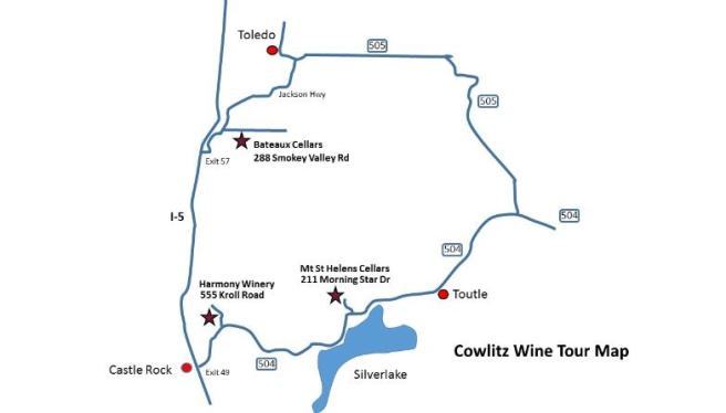 Cowlitz Wine Tour Map  (image courtesy of Mt. St. Helens Cellars)