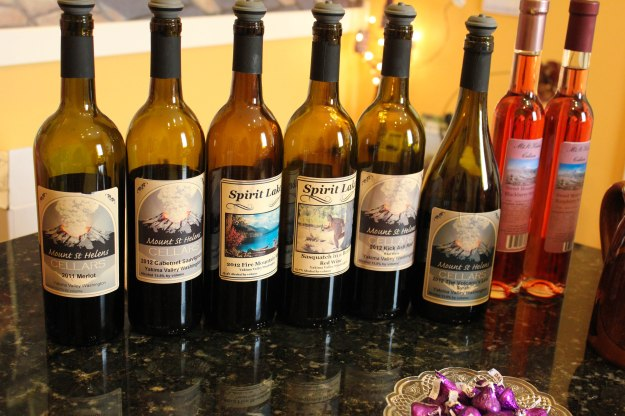 The red lineup at Mt. St. Helens Cellars
